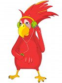 Cartoon Character Funny Parrot Listening to Music Isolated on White Background. Vector EPS 10.