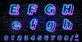 3d Neon Letters E-h. Neon Blue Font English. City Blue Font. Neon City Color Blue Font. English Alph poster