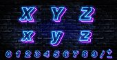 3d Neon Letters X-z. Neon Blue Font English. City Blue Font. Neon City Color Blue Font. English Alph poster