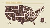 Detailed Vintage Map Of The United States Of America Split Into Individual States With The Abbreviat poster