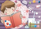 Studying Boy with happy smile - Scientist of the future with laboratory equipments and  phases of th