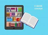 E-book With Bookshtlves On The Screen And One Flying Paper Book. Flat Vector Illustration For E-book poster