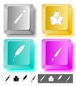 Education icon set. Brush, inkstand, feather, pencil. Computer keys. Raster illustration.