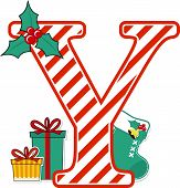 Capital Letter Y With Red And White Candy Cane Pattern And Christmas Design Elements Isolated On Whi poster