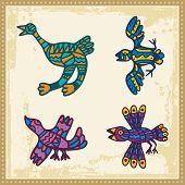 Vector set of animals in Australian aboriginal style.