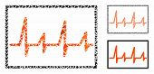 Cardiogram Composition Of Joggly Elements In Variable Sizes And Color Tints, Based On Cardiogram Ico poster