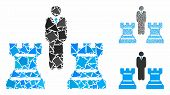 Chess Strategy Mosaic Of Joggly Parts In Variable Sizes And Color Tints, Based On Chess Strategy Ico poster