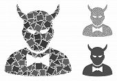 Devil Composition Of Joggly Pieces In Various Sizes And Color Tints, Based On Devil Icon. Vector Jog poster