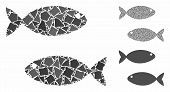 Fish Pair Mosaic Of Tuberous Parts In Various Sizes And Color Tones, Based On Fish Pair Icon. Vector poster