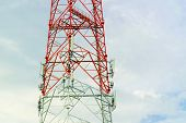 Parts Of The Telecommunication Towers With Blue Sky With Clouds, Parts Of Telecommunication Tower Wi poster