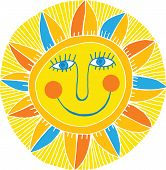 picture of ruddy-faced  - illustration of bright vector abstract smiling sun - JPG