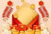 Red Envelope With Money With Chinese New Year Calligraphy For Wealth And Prosperity. Golden Coins An poster