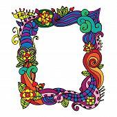 flower doodle frame vector