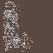 flower ornament corner doodle vector