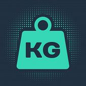 Green Weight Icon Isolated On Blue Background. Kilogram Weight Block For Weight Lifting And Scale. M poster