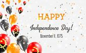 Angola Independence Day Greeting Card. Flying Balloons In Angola National Colors. Happy Independence poster