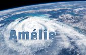 Weather Illustration. Storm Warning. Tropical Storm. Wind And Rain. Amélie. Text In French : Storm W poster