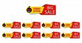 Discount Big Sale Offer Tag 50, 20, 10, 40, 30, 60, 70, 80, 90 Percent. Set Banner Super Offer Emble poster