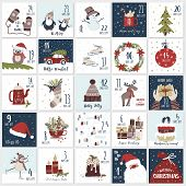 Christmas Cartoon Advent  Calendar In Hand Draw Style. Count Down Till Christmas Kit. Twenty Five Ch poster