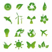 Set Of Green Environmental Vector Icons