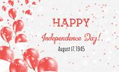 Indonesia Independence Day Greeting Card. Flying Balloons In Indonesia National Colors. Happy Indepe poster