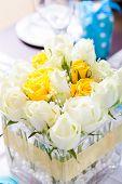 closeup of wedding table centerpiece flowers