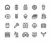 Beer Line Icons. Glass Bottles Pack Kegs Wooden Mug And Barrel, Alcoholic Beverages And Barley Hop D poster