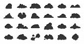 Flat Clouds Icon. Black Spring Nature Shadow Simplicity Silhouettes. Vector Illustrations Various Fo poster