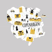 Funny Vector Srtylezed Illustrated Map Of Copenhagen With Different Attractions And Landmarks. poster