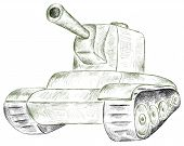 stock photo of panzer  - Vector stroke green panzer on a white background - JPG