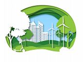 Eco City. Future Ecosystem With Building, Tree And Windmill. Green Recycling Energy, Save Environmen poster