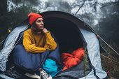 Tourist Traveler Ralaxing In Camp Tent In Foggy Rain Forest, Closeup Lonely Hiker Woman Enjoy Mist N poster