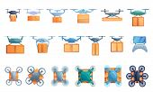 Drone Delivery Service Icons Set. Cartoon Set Of Drone Delivery Service Vector Icons For Web Design poster