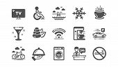 Hotel Service Icons. Wi-fi, Air Conditioning And Coffee Maker Machine. Spa Stones, Swimming Pool And poster