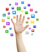 Hand with apps around
