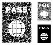 Passport Mosaic Of Trembly Parts In Different Sizes And Color Tinges, Based On Passport Icon. Vector poster