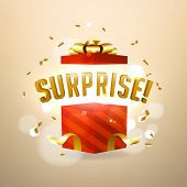 Surprise Inside Open Red Gift Box. Birthday Surprise And Christmas Present Concept. poster