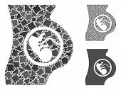 Pregnancy Mosaic Of Ragged Elements In Different Sizes And Color Tints, Based On Pregnancy Icon. Vec poster