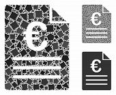Euro Document Mosaic Of Trembly Parts In Various Sizes And Color Tones, Based On Euro Document Icon. poster