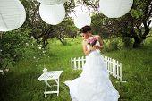 Portrait of beautiful Bride im freien