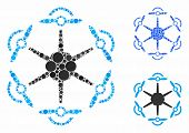Flying Hexacopter Mosaic Of Small Circles In Different Sizes And Color Tints, Based On Flying Hexaco poster