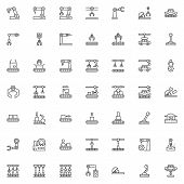Robotic Arm Line Icons Set. Manufacturing Automation Technology Linear Style Symbols Collection, Out poster