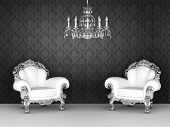 Poltronas de luxuosa no Interior barroco. Wallpapers de ornamento.