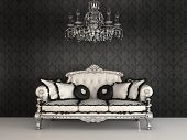 Royal Sofa With Pillows And Chandelier In Luxurious Interior With Ornament Wallpapers