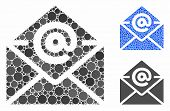 Email Composition Of Round Dots In Variable Sizes And Color Tints, Based On Email Icon. Vector Round poster