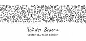 Snowflake Seamless Border Pattern. Winter Season, Merry Christmas, New Year, Happy Holiday Card Back poster