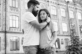 Feel My Love. Happy Together. Couple In Love Walking Having Fun. Tender Hug. Couple Relaxing Enjoyin poster