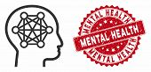 Vector Human Brain Icon And Corroded Round Stamp Seal With Mental Health Phrase. Flat Human Brain Ic poster