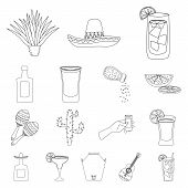 Vector Illustration Of Mexico And Tequila Logo. Set Of Mexico And Fiesta Vector Icon For Stock. poster