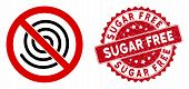 Vector No Spiral Icon And Rubber Round Stamp Seal With Sugar Free Text. Flat No Spiral Icon Is Isola poster